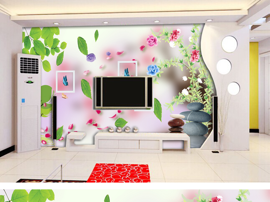 电视墙欧式简欧天鹅湖沙发背景墙画壁画壁纸墙纸高档