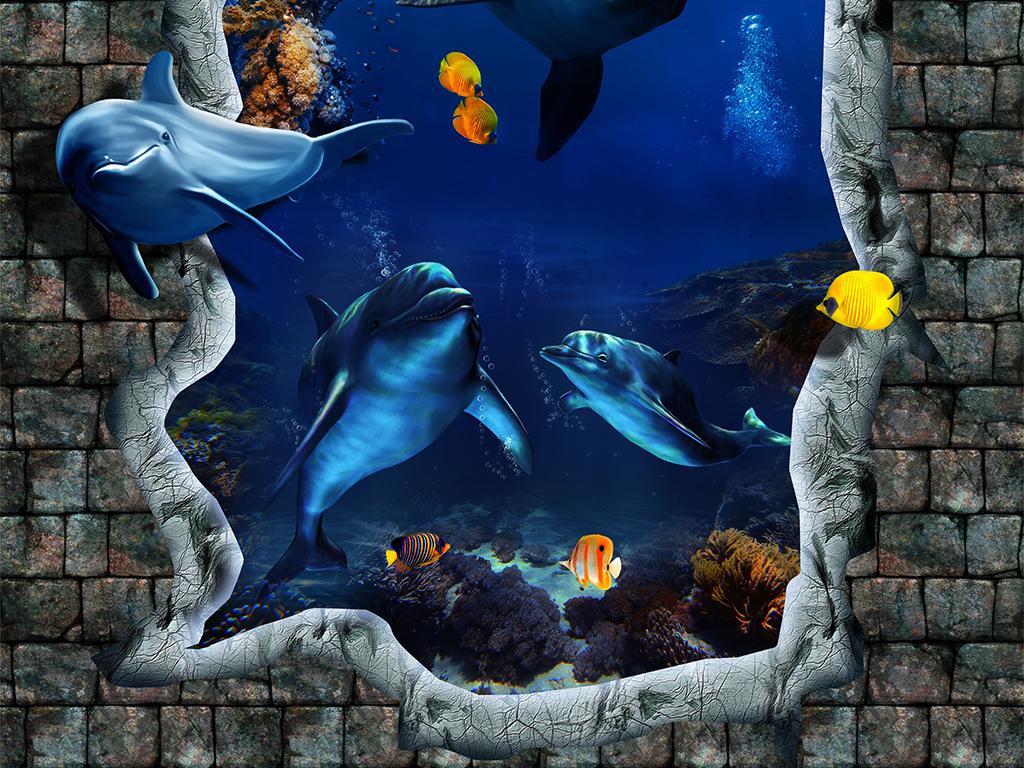海底世界海豚3d天顶壁画