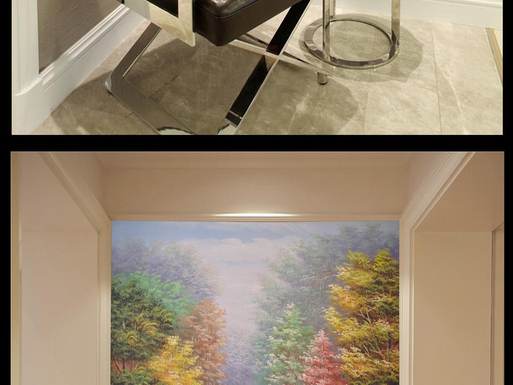 沙发背景墙室内装饰图写意中式意境禅意绿树成荫纯手绘