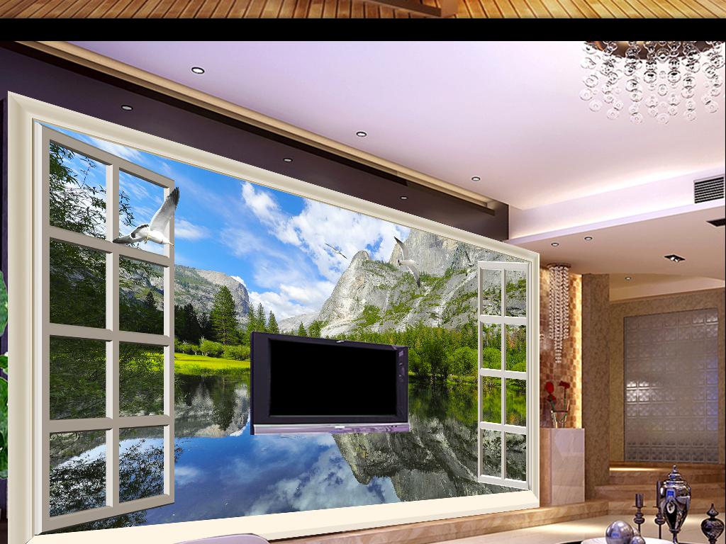 窗外湖光山色高清意境3d立体山水背景墙