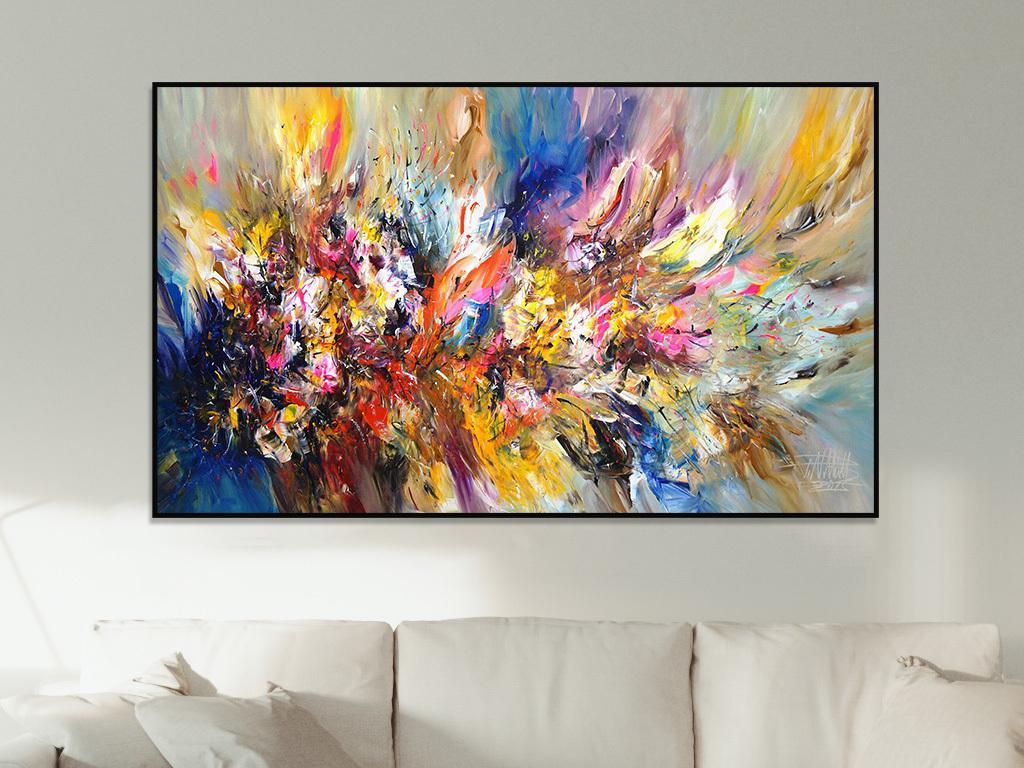 美式乡村风格高清手绘黄蓝色花卉抽象装饰画