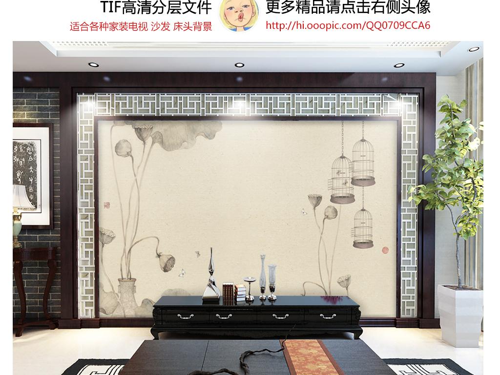 手绘仿古禅意荷花莲蓬寺院酒楼主题餐馆背景墙