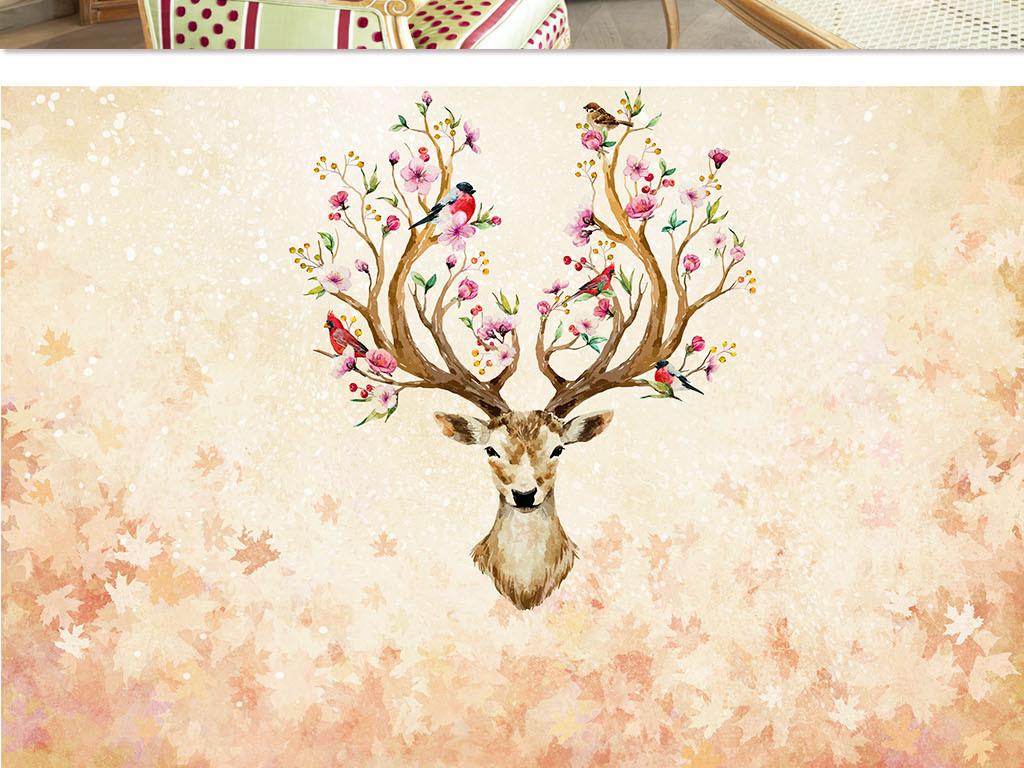 美式手绘唯美鹿头背景墙