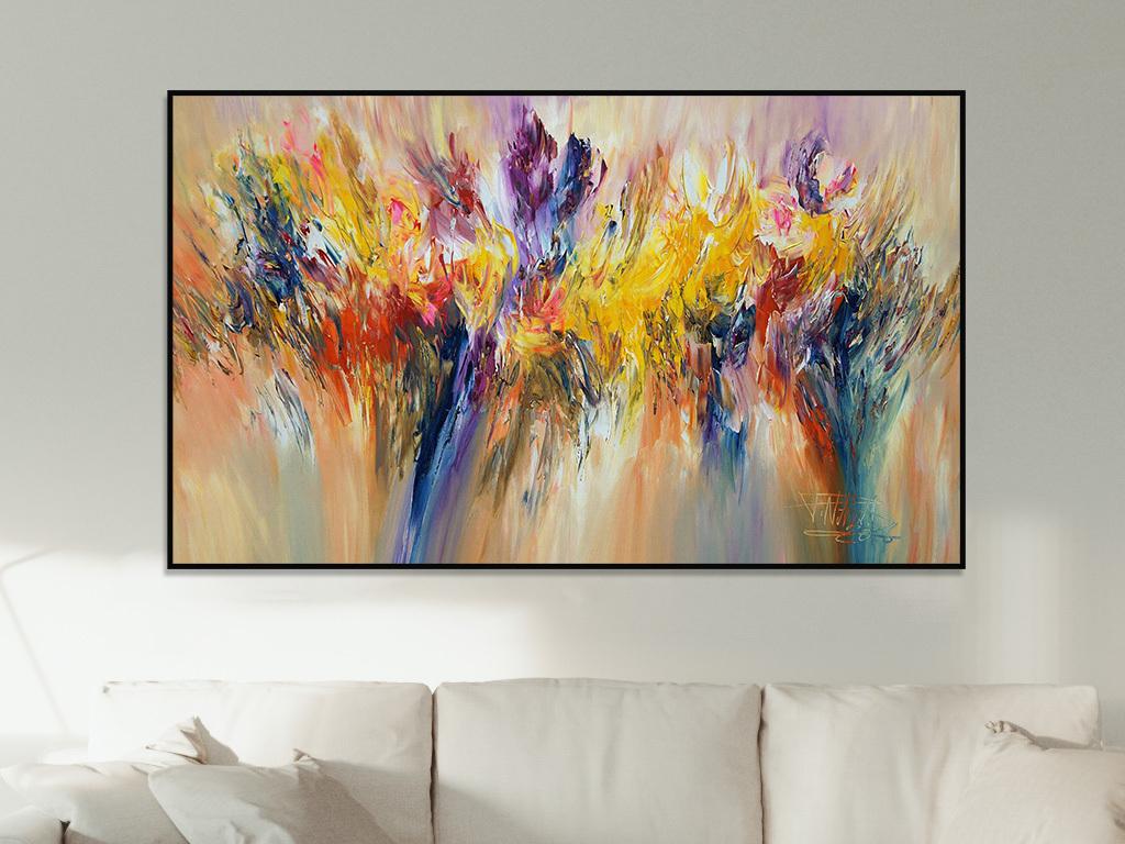 长条画超大挂画壁画巨幅客厅画背景墙画美式复古电表箱装饰画现代抽象图片