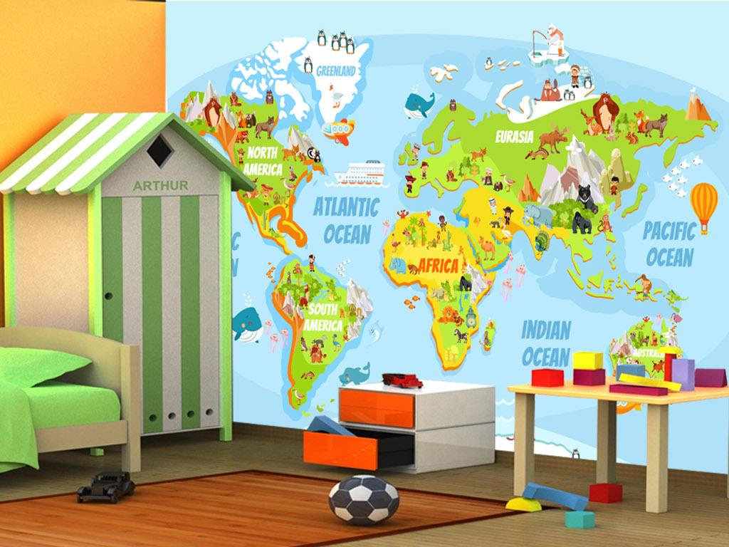 手绘卡通地图动物海洋儿童房背景墙壁画