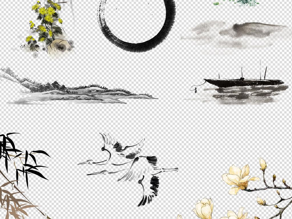画中国风免抠素材大全 位图, rgb格式高清大图,使用软件为 photoshop