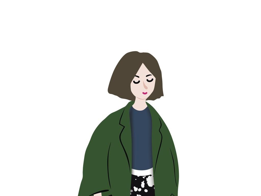 小女孩卡通人物矢量图插画(图片