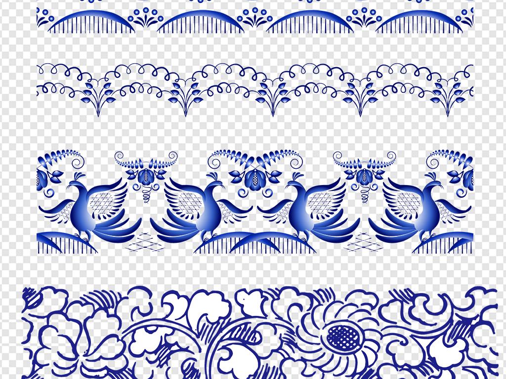 花纹背景素材手绘精美青花瓷底纹贴图中国风花纹花纹边框图案图片花鸟