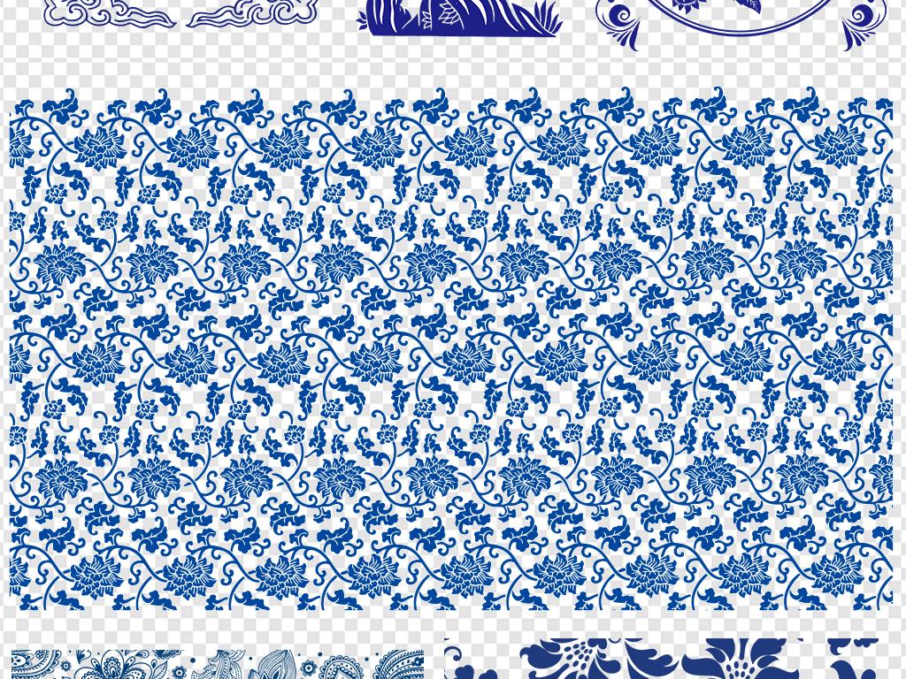 青花瓷花纹图案png素材