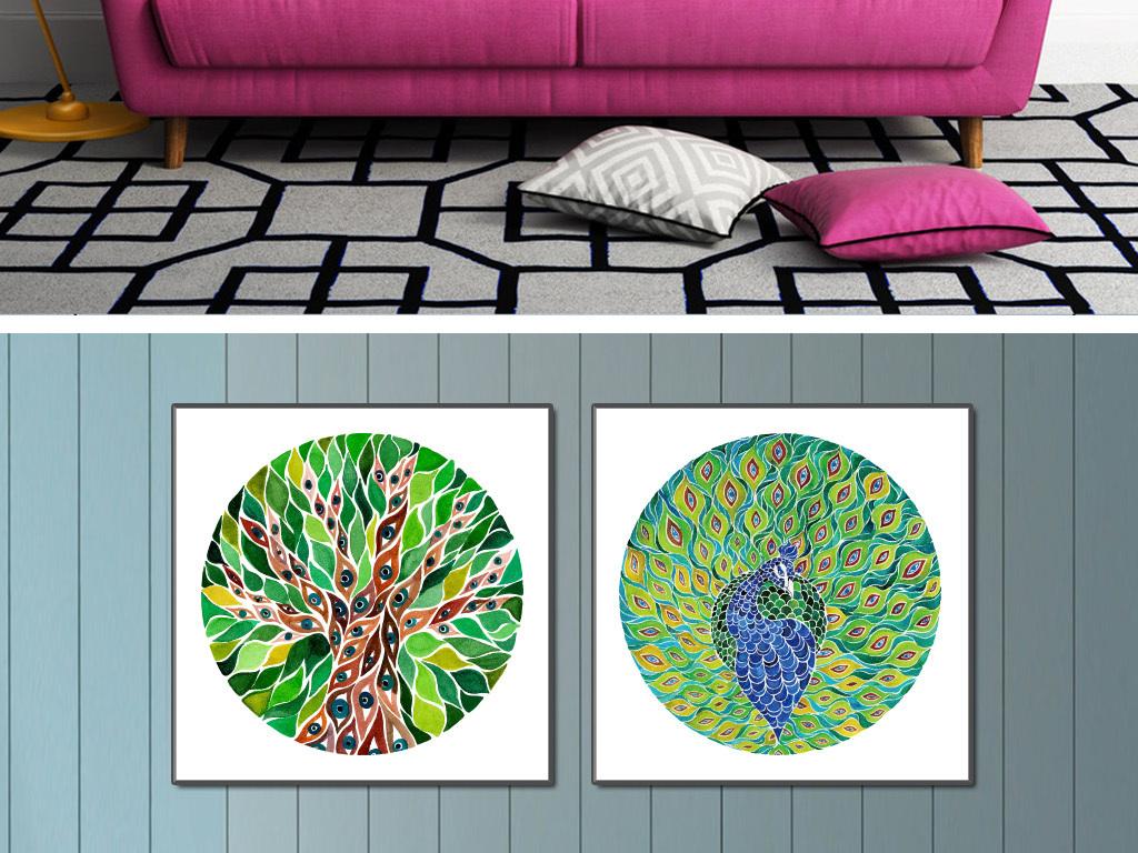 手绘水彩圆形孔雀树装饰画