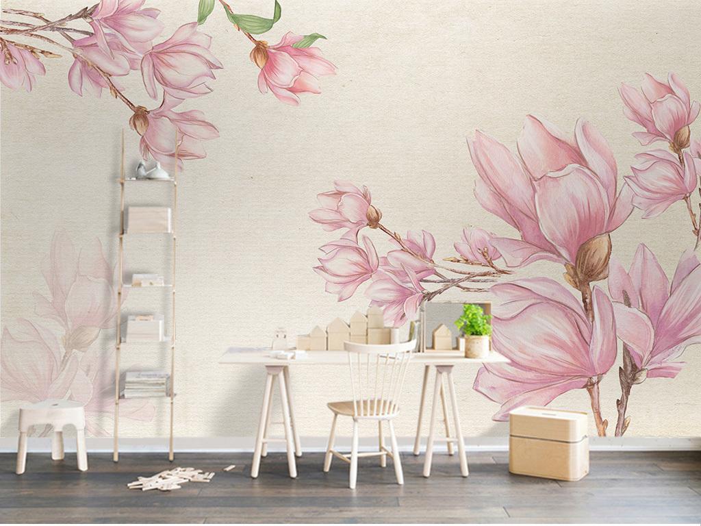 北欧简约手绘玉兰花背景墙