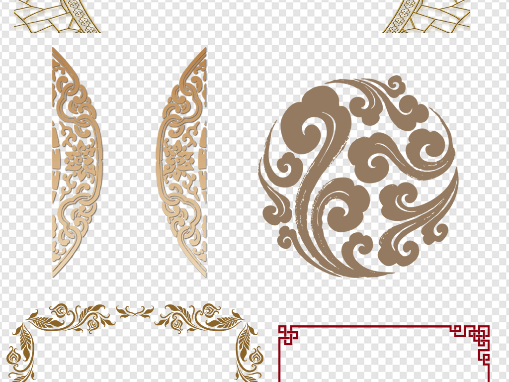中式花纹边框外框png素材图片