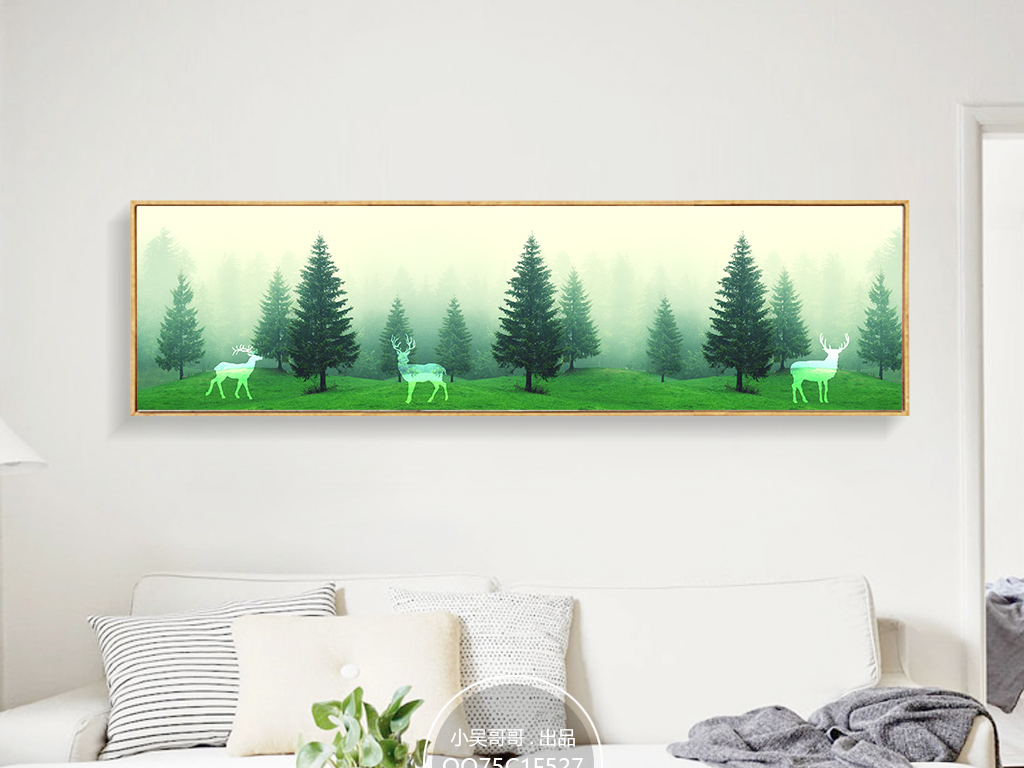 墙画手绘小树林
