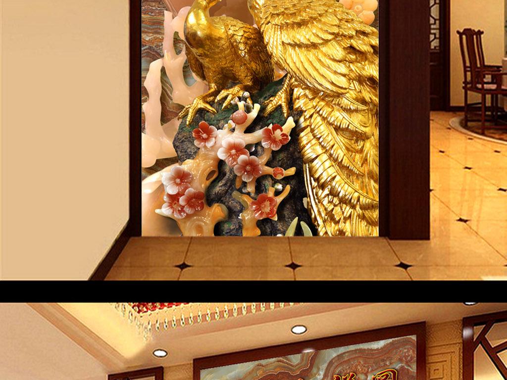 玻璃瓷砖装饰画中式装修图片高清晰古典典雅高档孔雀