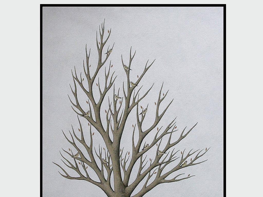 北欧手绘小清新树杈小鸟高清无框画