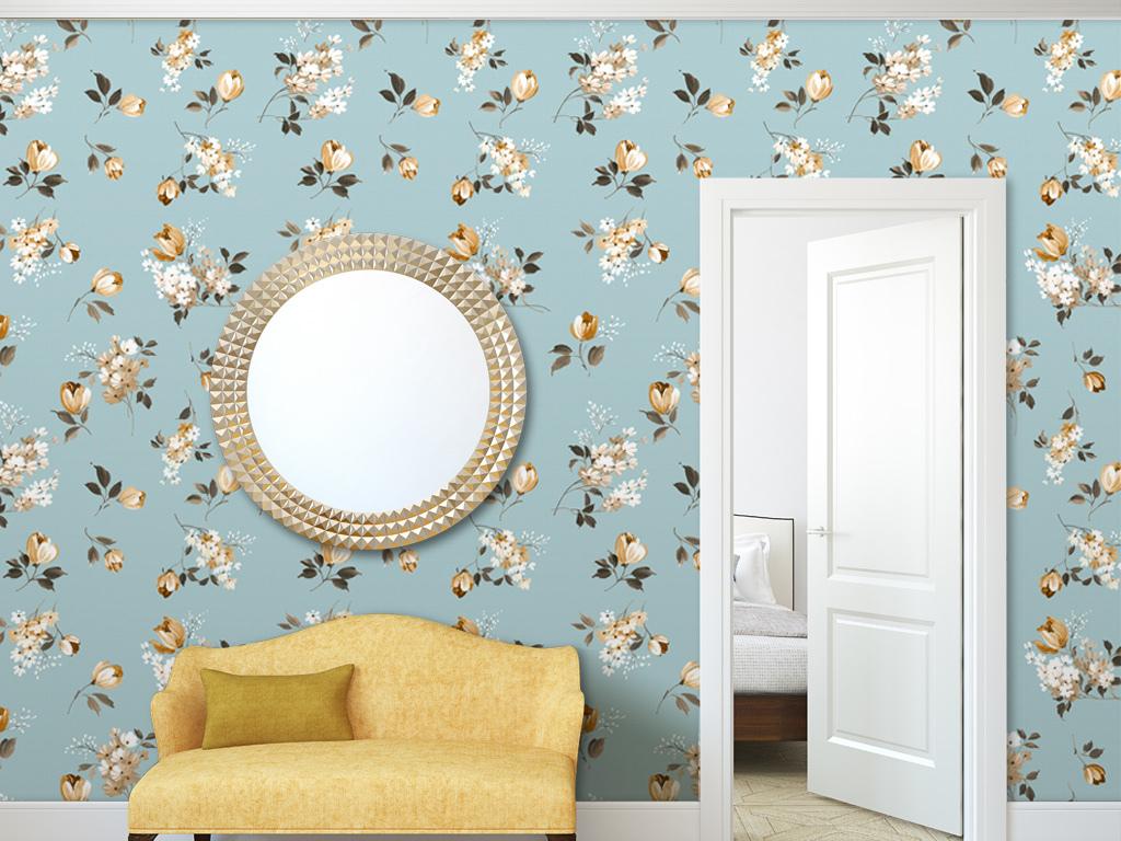 郁金香碎花花纹美式墙纸图片
