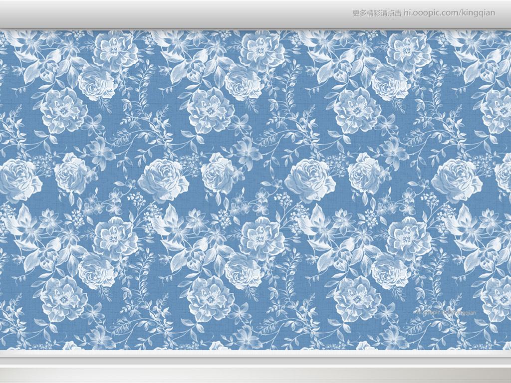 设计作品简介: 蓝色花纹玫瑰美式墙纸 位图, rgb格式高清大图,使用图片