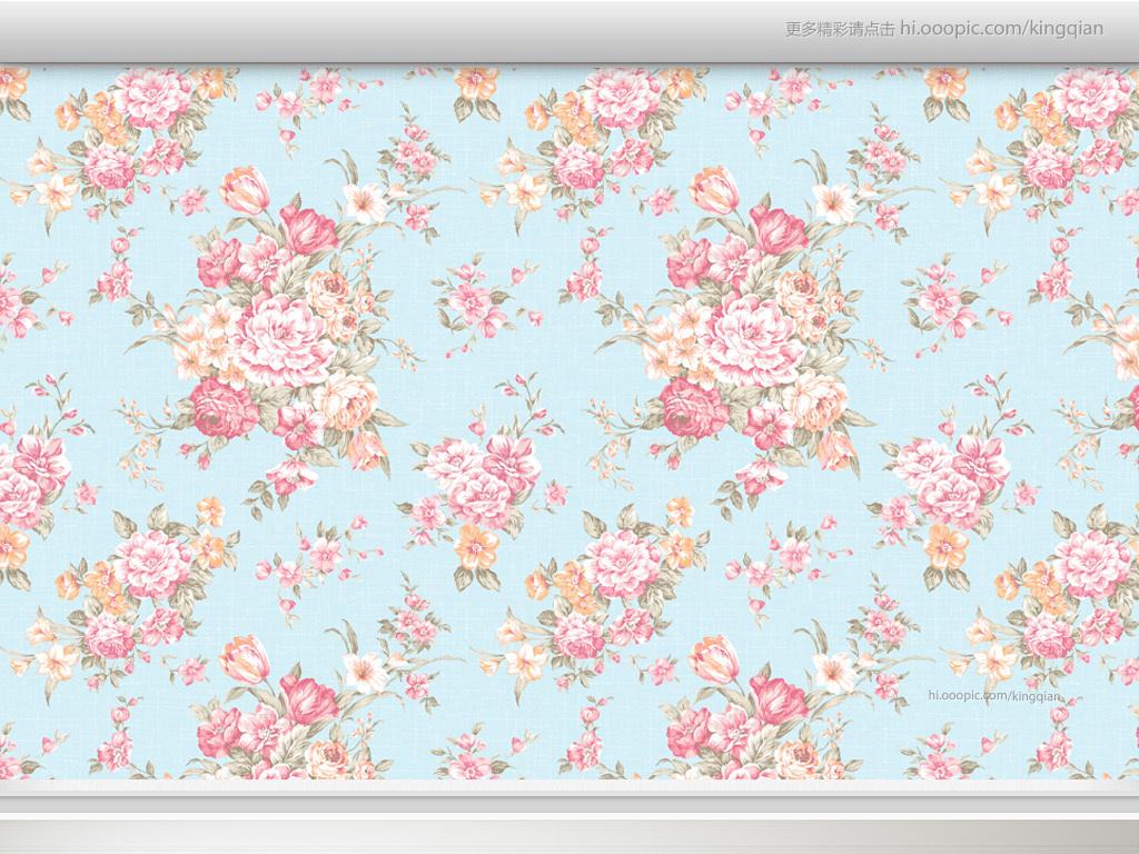 温馨典雅玫瑰花纹美式墙纸图片