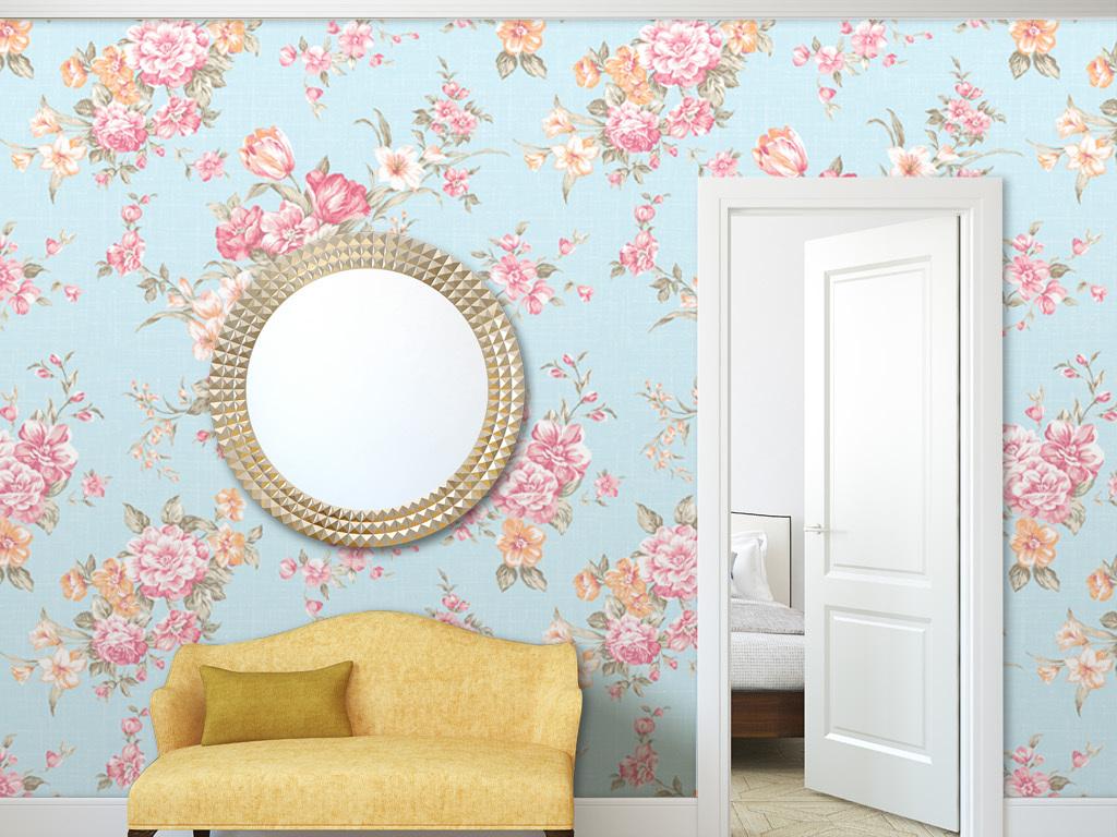 家装墙纸展示墙纸效果图客厅墙纸卧室墙纸无缝花纹花朵美式玫瑰花纹图片