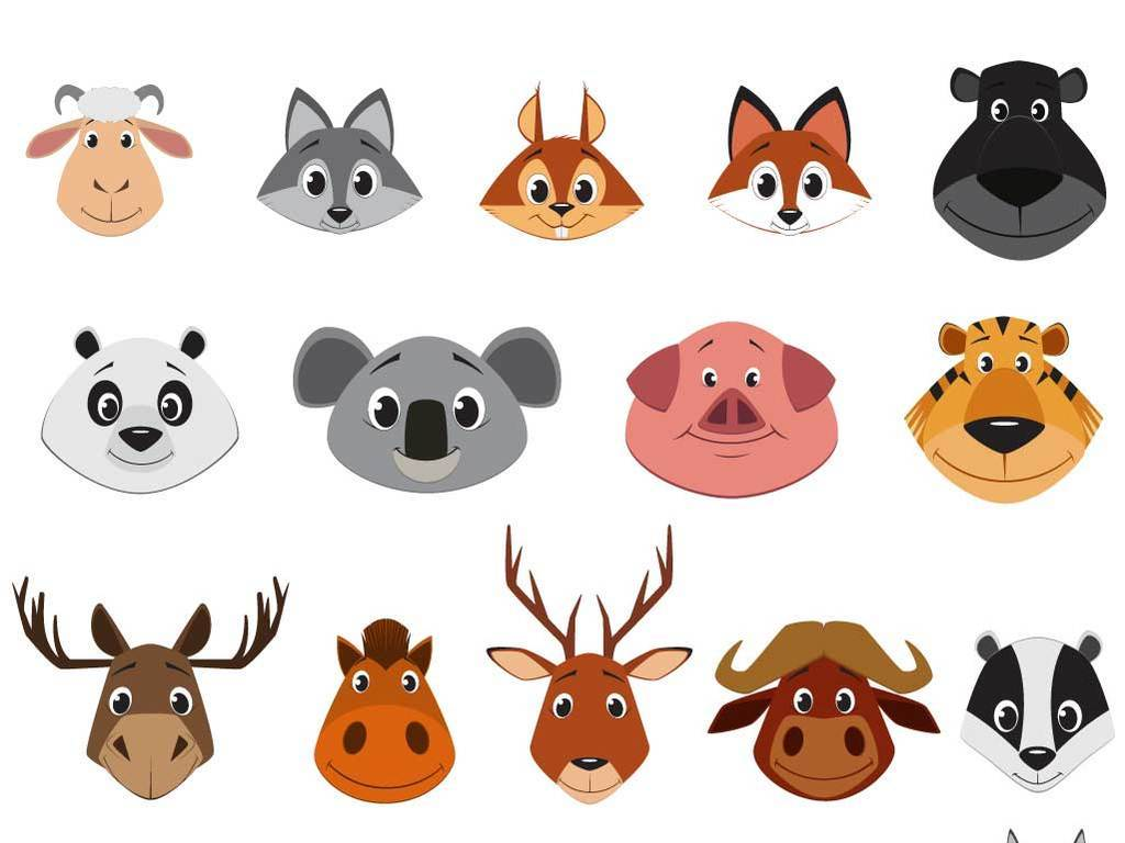 卡通动物可爱动物头像漫画动物素材矢量图