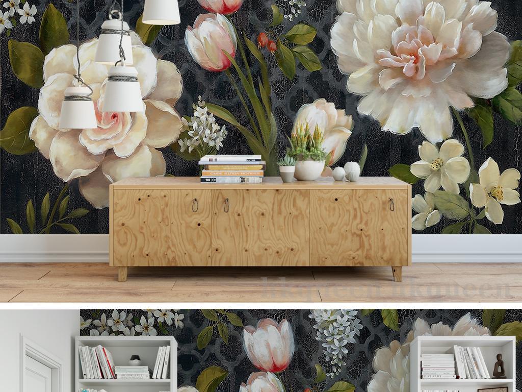 欧式复古山茶花郁金香手绘抽象油画背景墙