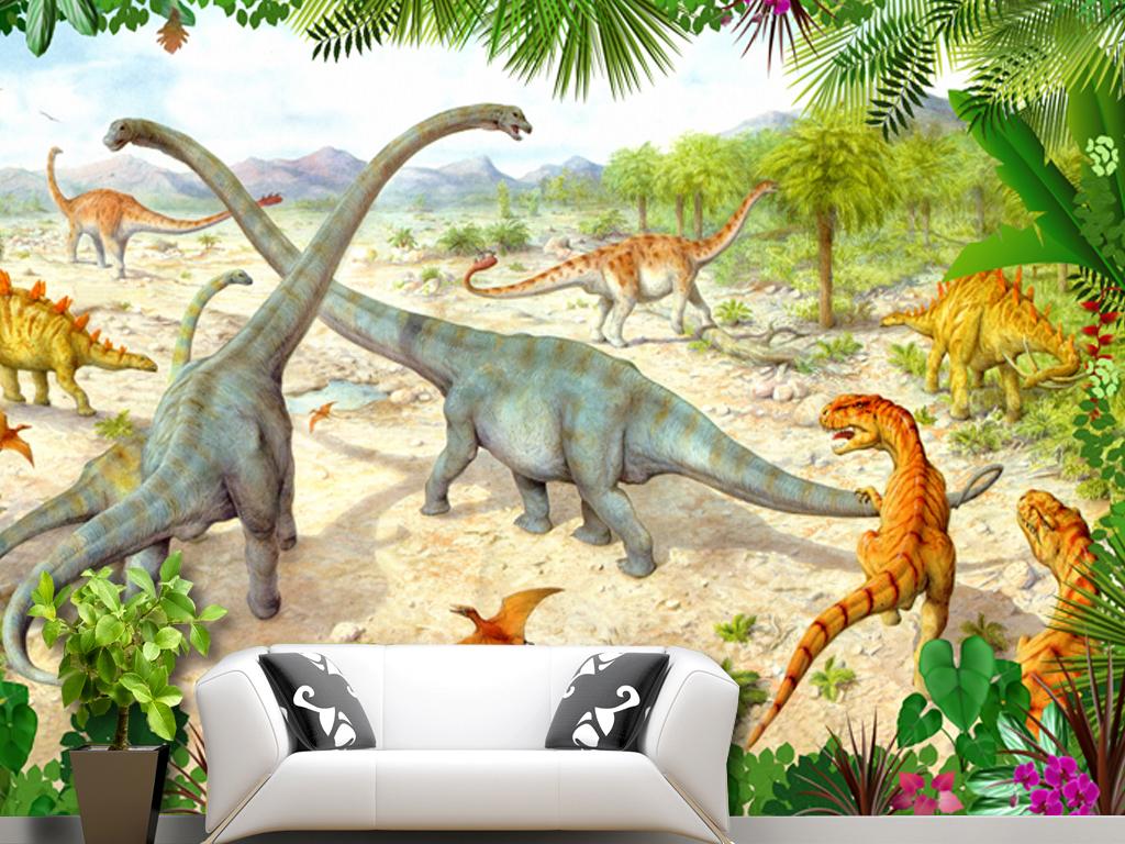 tif分层)大型壁画恐龙科幻世界史前动物史前森林树