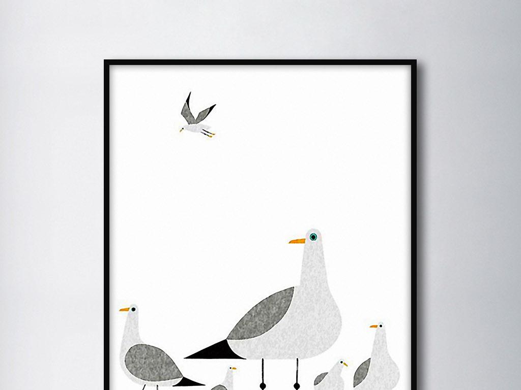 和平鸽白鸽简约手绘北欧现代小清新装饰画图片