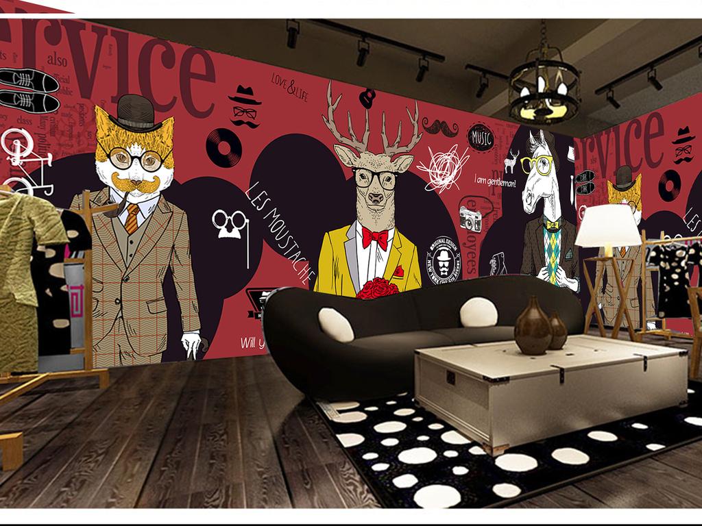 主题餐厅咖啡厅手绘马休闲吧抽象手绘背景动物抽象背景服装店抽象动