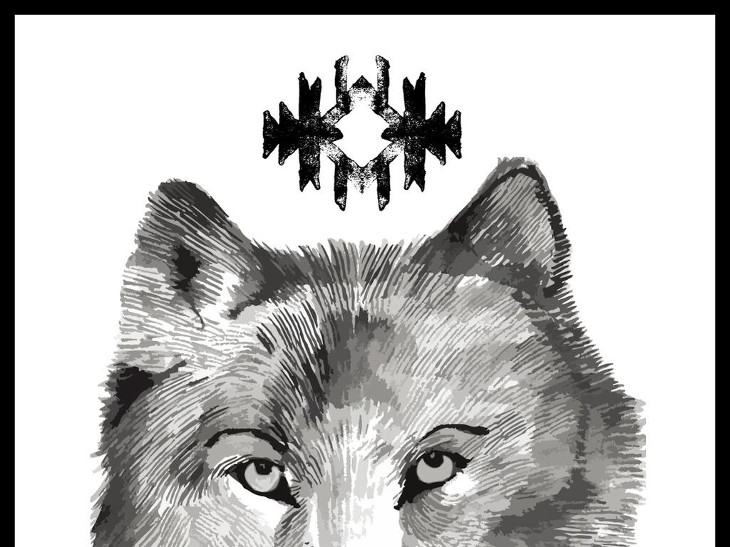手绘狼头图片霸气图