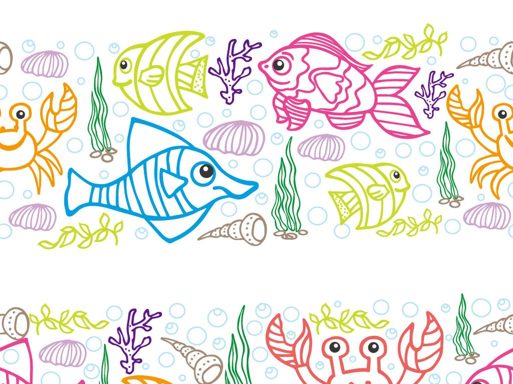 小班简单水粉画-海底世界蜡笔画水彩画鱼海星水草螃蟹素材下载,作品模板源文件可
