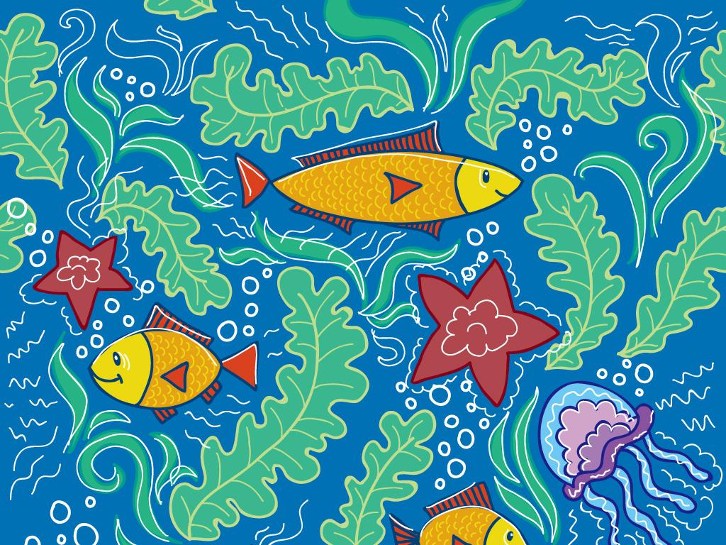 儿童画海底世界蜡笔画水彩画鱼海星水草螃蟹
