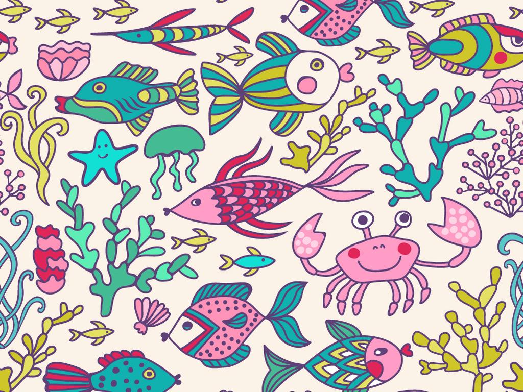 儿童画海底世界蜡笔画水彩画鱼海星