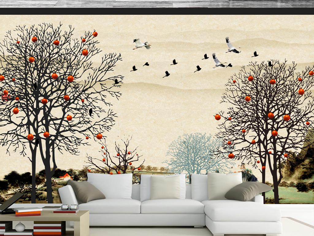 江南春色中式水墨画背景墙壁画图片