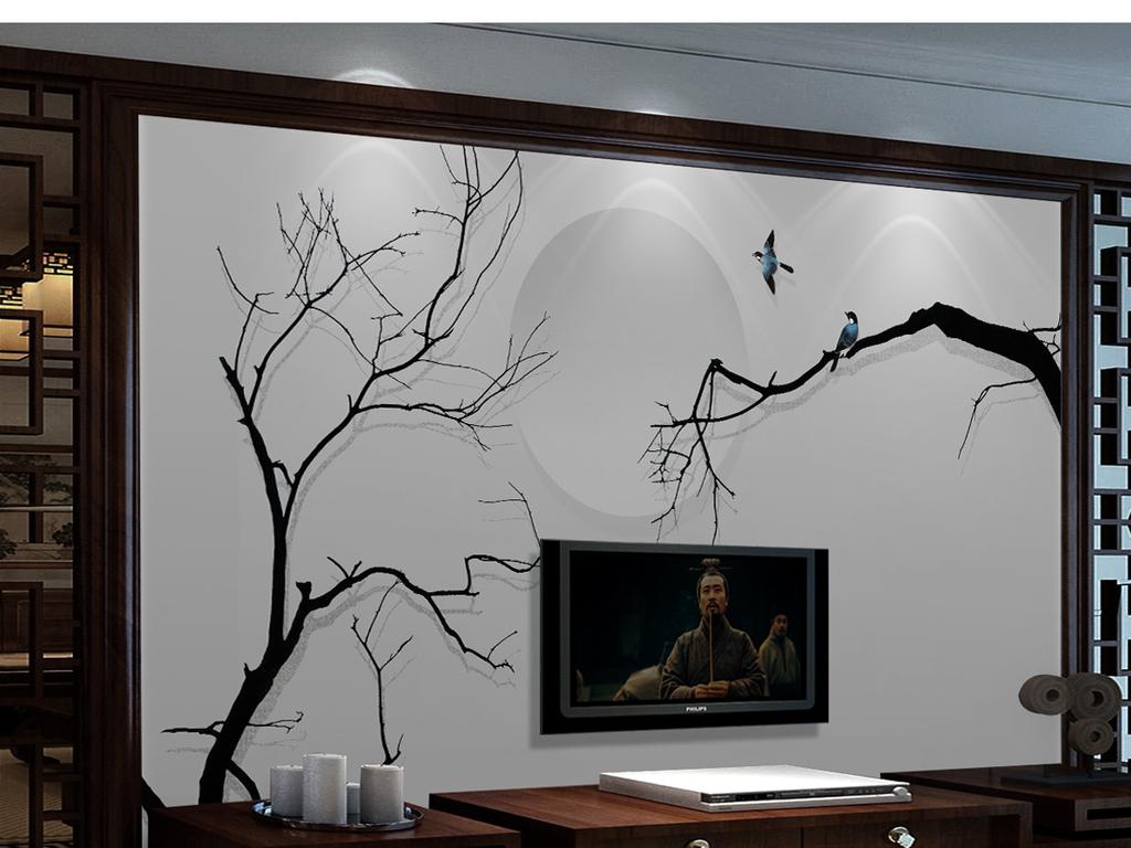 新中式禅意手绘水墨抽象树电视背景墙装饰画(图片编号图片