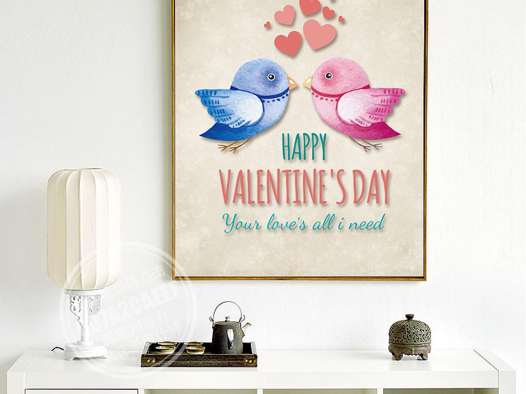 北欧风格装饰画客厅卧室餐厅床头爱情鸟挂画图片