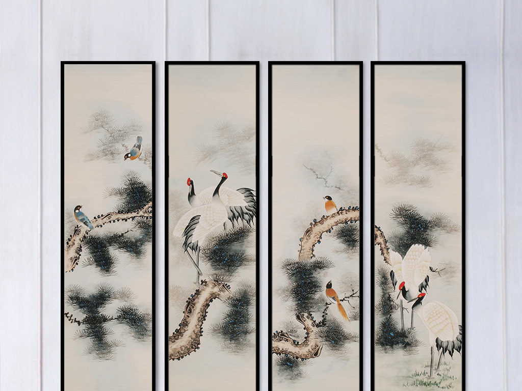 新中式四条屏松鹤延年国画装饰无框画