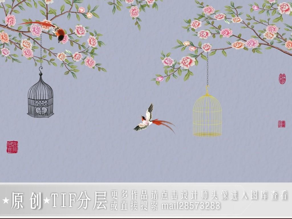 中式手绘牡丹工笔花鸟背景墙装饰画