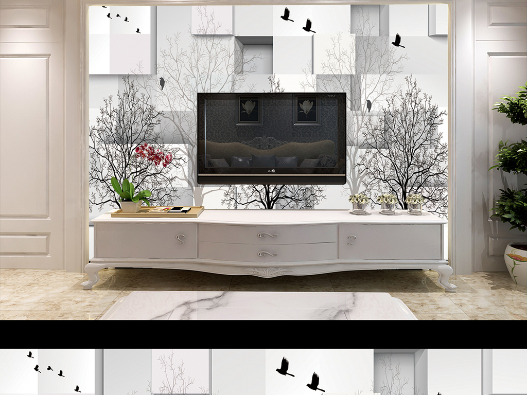 3d黑白灰手绘树小鸟蝴蝶方块背景墙