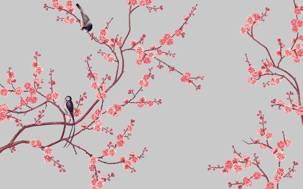 中式手绘花鸟电视背景墙壁画墙纸