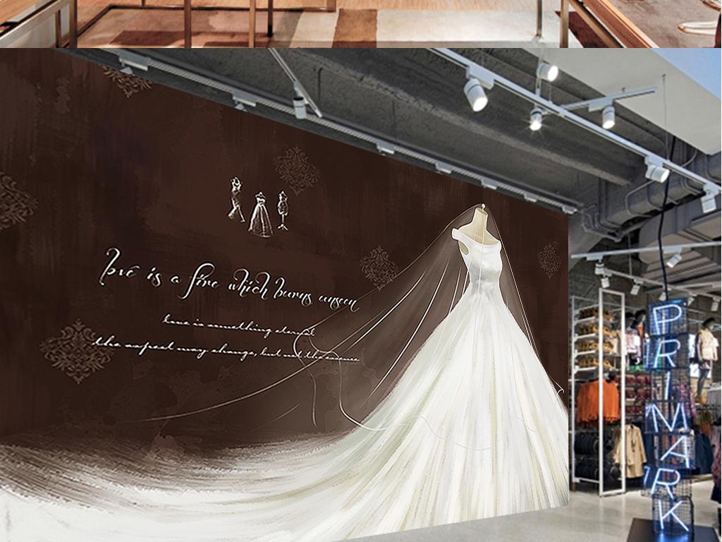 复古手绘白天鹅婚纱服装店工装背景墙