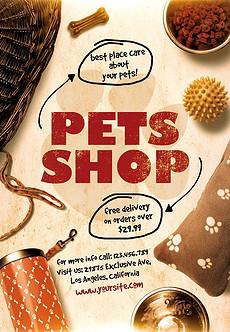 温馨卡通漫画可爱宠物店宣传海报PSD模板