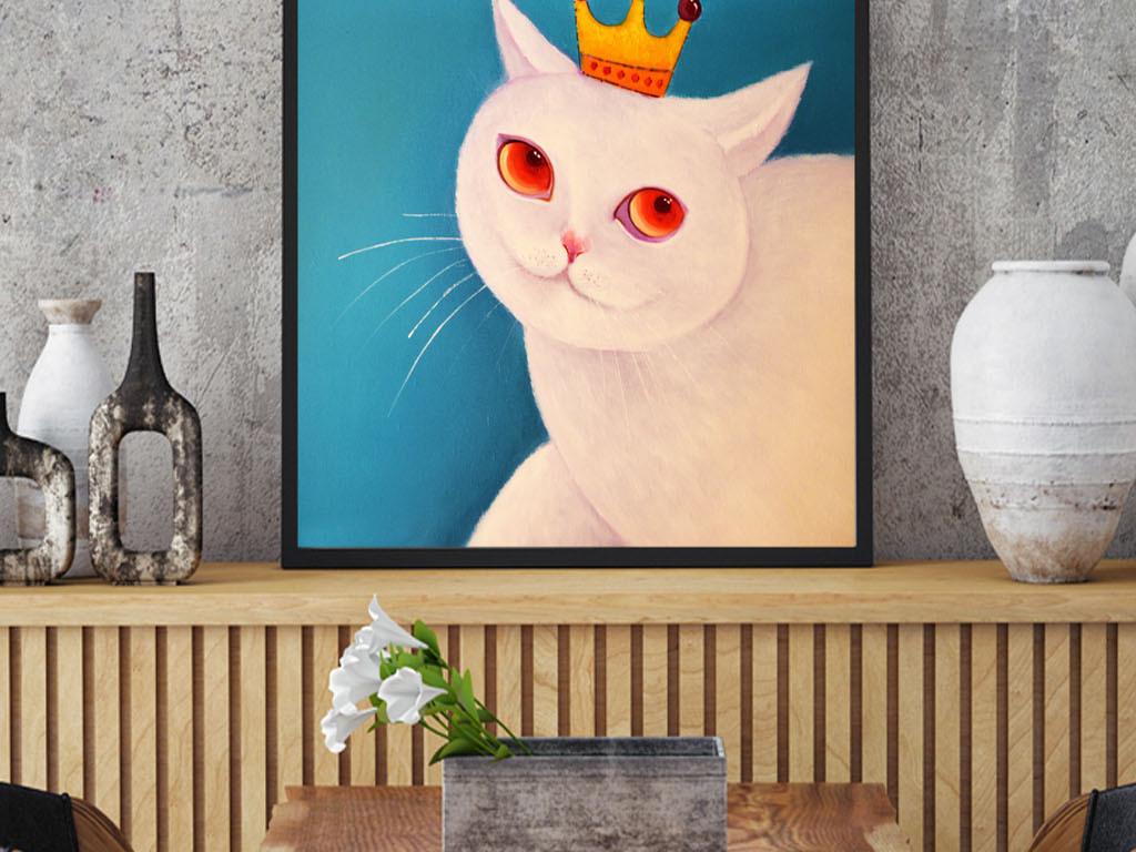 油画手绘咖啡猫客厅装饰