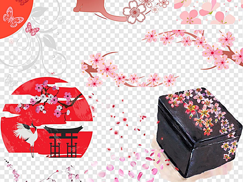 png)日本樱花手绘樱花飘落樱花节樱花背景日本粉色
