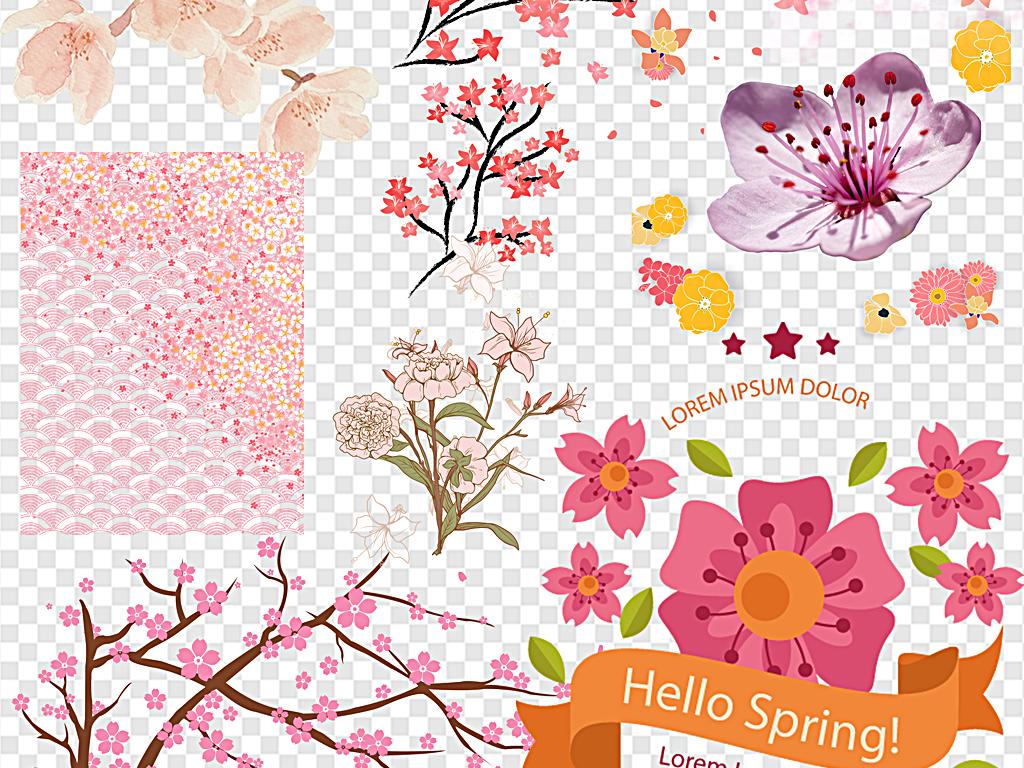 png)手绘樱花樱花飘落樱花边框樱花花瓣日本粉色清