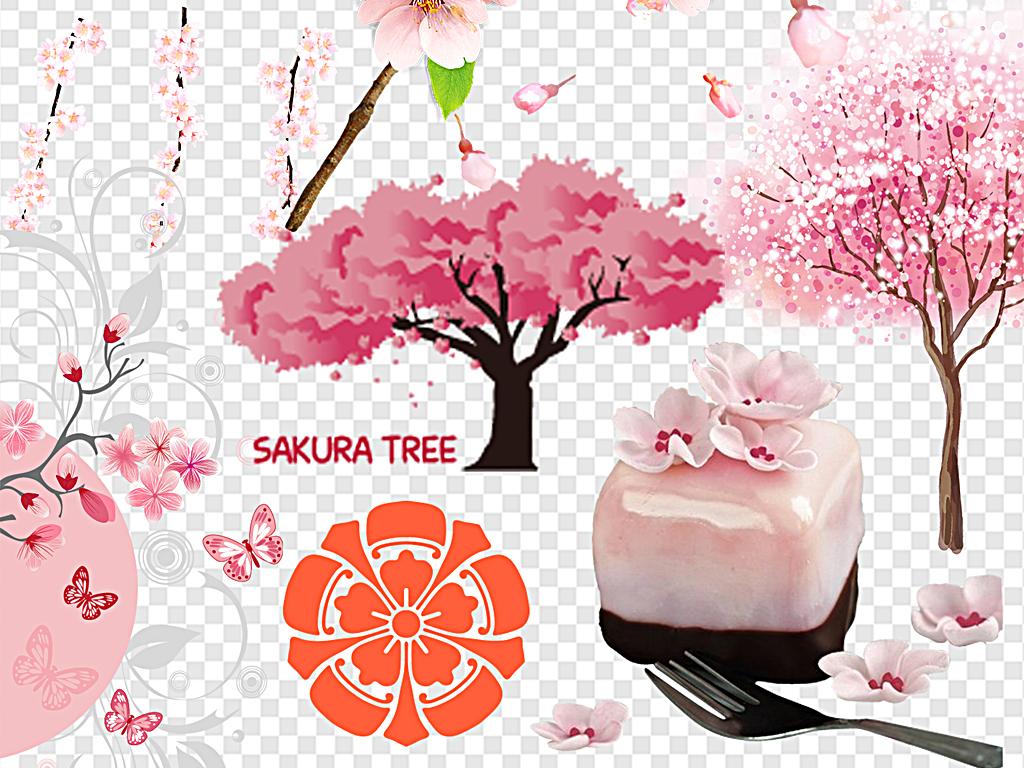 png)樱花花瓣手绘樱花樱花飘落樱花边框日本粉色清新