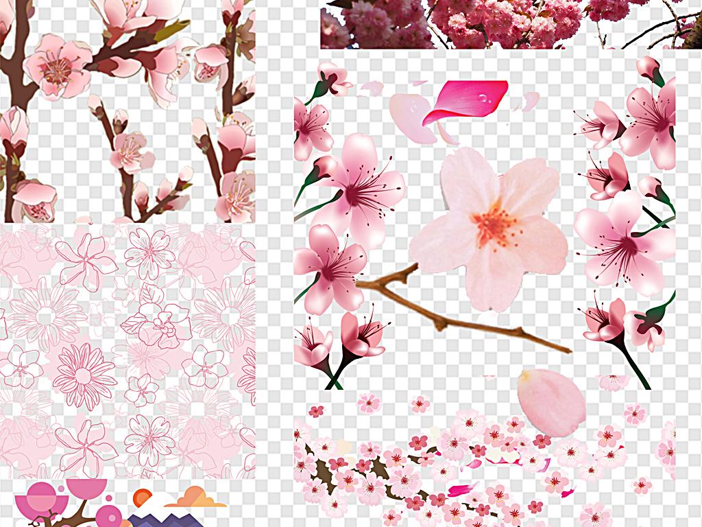 日本樱花手绘樱花樱花飘落樱花边框