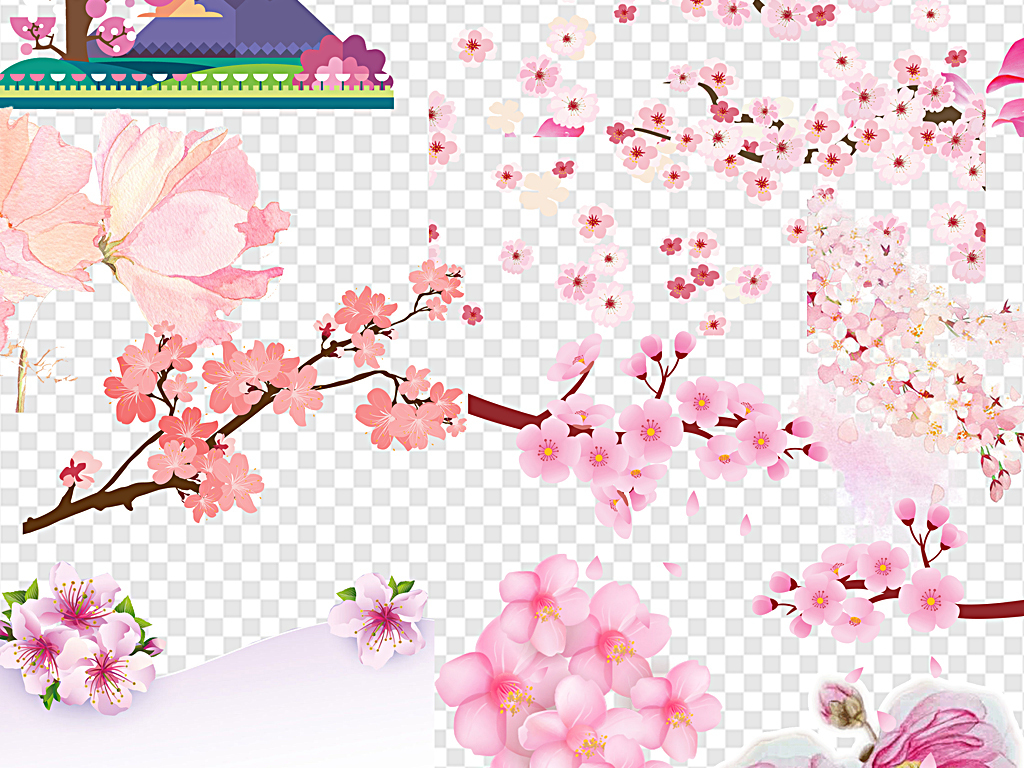 樱花手绘樱花日本樱花飘落手绘边框樱花飘落樱花手绘