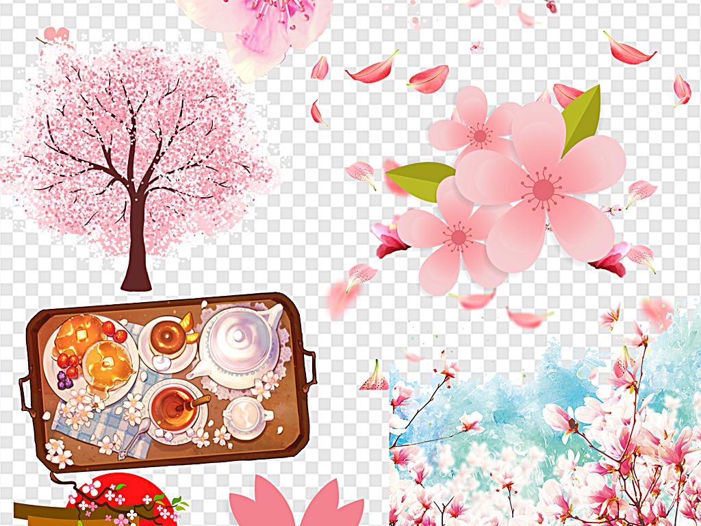 手绘樱花樱花飘落樱花边框樱花节日本粉色清新樱花