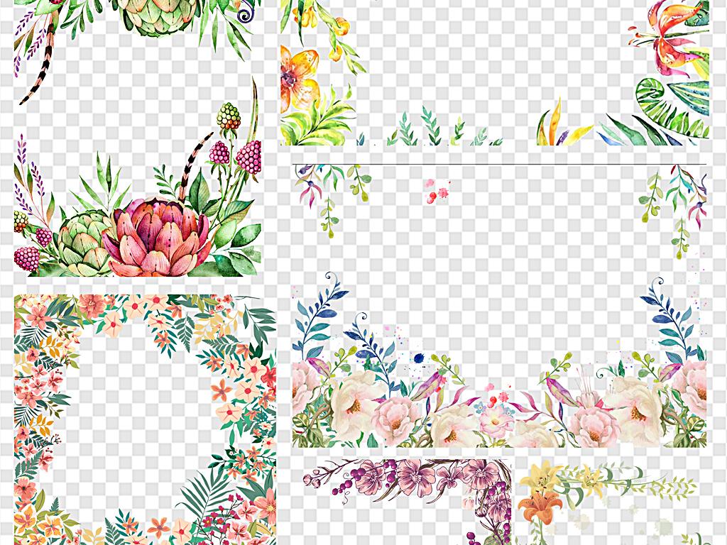 热带花卉边框欧式边框卡通边框花纹边框