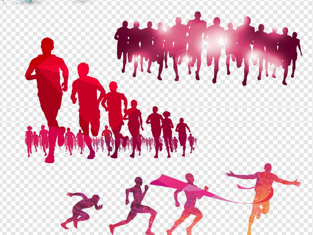 2017年奔跑人物剪影海报素材